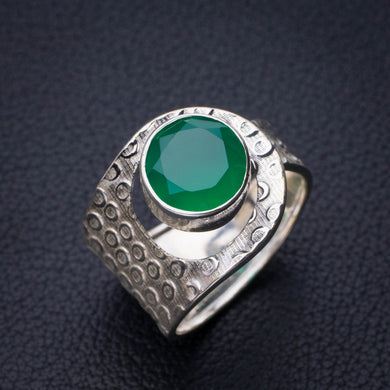 StarGems Natural Chrysoprase Handmade 925 Sterling Silver Ring 10 E2773
