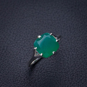StarGems Natural Chrysoprase Handmade 925 Sterling Silver Ring 6.75 E2781