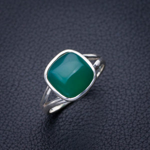 StarGems Natural Chrysoprase Handmade 925 Sterling Silver Ring 7.75 E2782