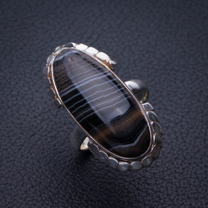 StarGems Natural Botswana Agate Handmade 925 Sterling Silver Ring 6.5 E3138