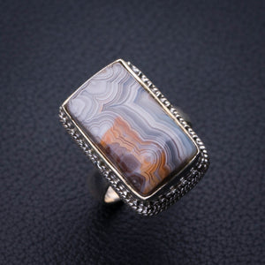 StarGems Natural Crazy Lace Agate Handmade 925 Sterling Silver Ring 6.25 E3143