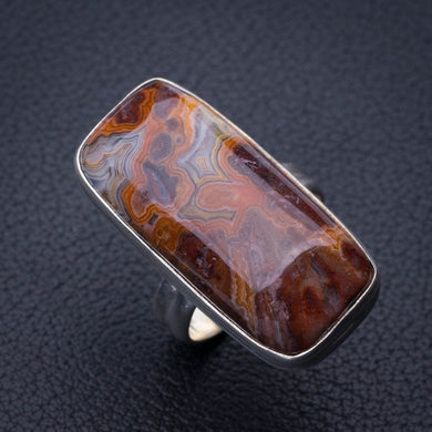 StarGems Natural Crazy Lace Agate Handmade 925 Sterling Silver Ring 6.25 E3144