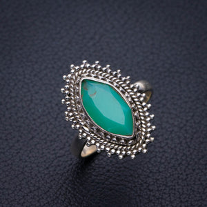 StarGems Natural Chrysoprase Handmade 925 Sterling Silver Ring 7.5 E3149