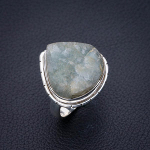 StarGems Natural Rough Aquamarine Handmade 925 Sterling Silver Ring 7.25 E3407