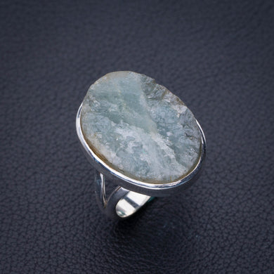 StarGems Natural Rough Aquamarine Handmade 925 Sterling Silver Ring 7.5 E3408