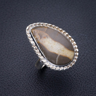 StarGems Natural Dragon Veins Agate Handmade 925 Sterling Silver Ring 7.5 E3467
