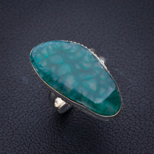 StarGems Natural Agate Handmade 925 Sterling Silver Ring 8.5 E3491