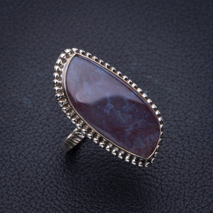 StarGems Natural Cuprite Blood Stone Handmade 925 Sterling Silver Ring 7.5 E3494