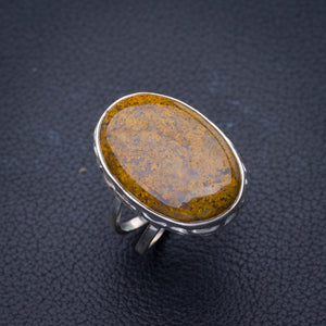 StarGems Natural Agate Handmade 925 Sterling Silver Ring 7 E3496