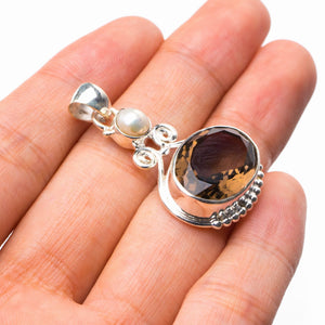 "StarGems Natural Smoky Quartz And River Pearl Handmade 925 Sterling Silver Pendant 1.5"" E0279"