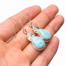 "StarGems Natural Caribbean Larimar Handmade 925 Sterling Silver Earrings 1.5"" E1234"