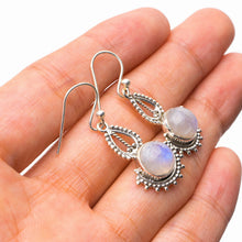 "StarGems Natural Rainbow Moonstone Handmade 925 Sterling Silver Earrings 1.25"" E1456"