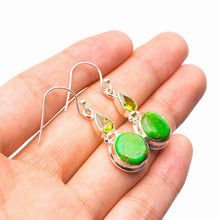 "StarGems Natural Copper Turquoise And Peridot Handmade 925 Sterling Silver Earrings 1.5"" E1715"