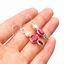 "StarGems Natural Cherry Ruby,River Pearl And Garnet Handmade 925 Sterling Silver Earrings 1.5"" E1781"