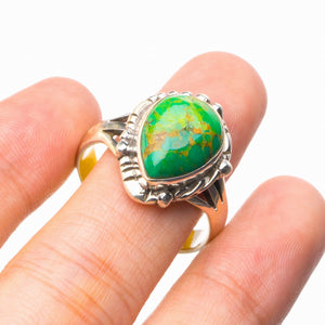 StarGems Natural Turquoise Handmade 925 Sterling Silver Ring 9 E2327