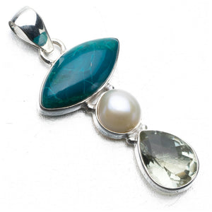 "Natural River Pearl,Green Amethyst and Chrysocolla Punk Style 925 Sterling Silver Pendant 2"" P0730"