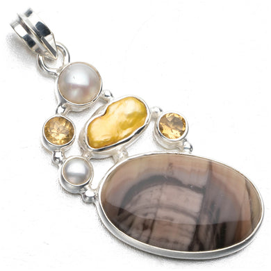 Imperial Jasper,Biwa Pearl,River Pearl Citrine Punk Style 925 Sterling Silver Pendant 2 1/4