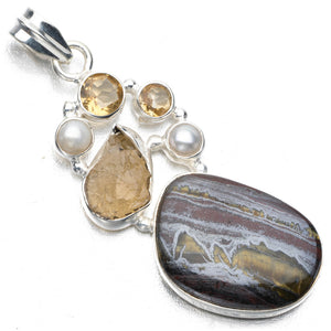 "Iron Tiger Eye,Drusy Druzy,River Pearl Citrine Punk Style 925 Sterling Silver Pendant 2 1/4"" P0894"