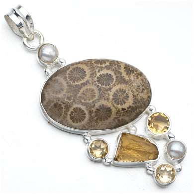 Chrysanthemum Jasper,Drusy Druzy,Citrine and River Pearl 925 Sterling Silver Pendant 2 1/2