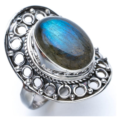 Blue Fire Labradorite Unique Design 925 Sterling Silver Ring US Size 6.75 P1051