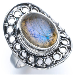 Blue Fire Labradorite Unique Design 925 Sterling Silver Ring US Size 8.25 P1054