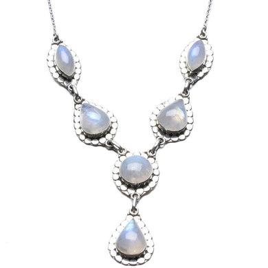 Natural Rainbow Moonstone Unique Design 925 Sterling Silver Necklace 20 3/4