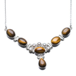 "Natural Tiger Eye and River Pearl Unique Design 925 Sterling Silver Necklace 18"" P2540"