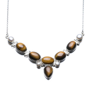 "Natural Tiger Eye and River Pearl Unique Design 925 Sterling Silver Necklace  17 3/4"" P2544"
