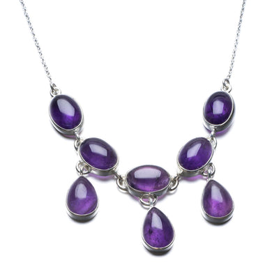 Natural Amethyst Unique Design 925 Sterling Silver Necklace 19