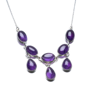 "Natural Amethyst Unique Design 925 Sterling Silver Necklace 19"" P2561"