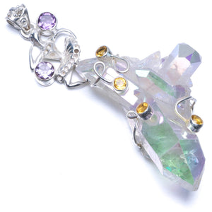 "Huge Angle Rainbow Opal Aura Quartz, Citrine and Amethyst 925 Sterling Silver Pendant 3 1/4"" PS015"