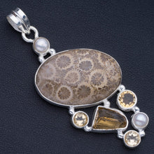 "Chrysanthemum Jasper,Drusy Druzy,Citrine and River Pearl 925 Sterling Silver Pendant 2 1/2"" P0986"