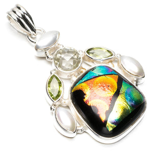 "Fancy Dichroic Glass,Peridot,White Topaz and River Pearl 925 Sterling Silver Pendant 2"" Q0701"