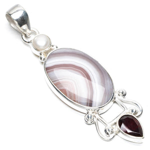 "Natural Botswana Agate,Garnet and River Pearl Punk Style 925 Sterling Silver Pendant 2 1/2"" Q1002"