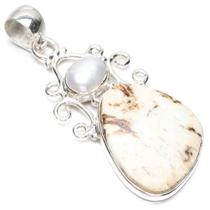 "Natural Lemon Chrysoprase and River Pearl Punk Style 925 Sterling Silver Pendant 2"" Q1051"