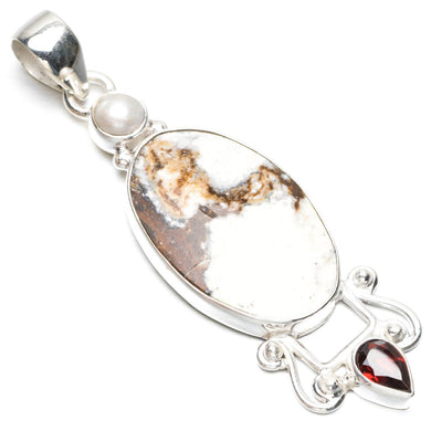 Natural Lemon Chrysoprase,Garnet and River Pearl 925 Sterling Silver Pendant 2 1/2