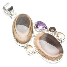 "Natural Imperial Jasper,Amethyst,Citrine and Smoky Quartz 925 Sterling Silver Pendant 2 1/2"" Q1059"