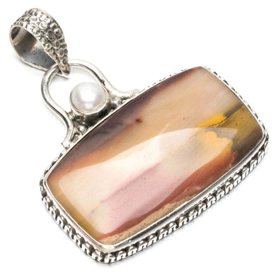 Natural Royal Imperial Jasper and River Pearl Punk Style 925 Sterling Silver Pendant 1 1/2
