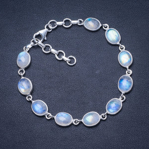 "Natural Rainbow Moonstone 925 Sterling Silver Bracelet 6 3/4 - 8"" Q2820"