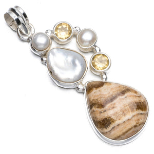 "Dragon Septarian,Biwa Pearl,River Pearl and Citrine 925 Sterling Silver Pendant Necklace 2"" R1209"