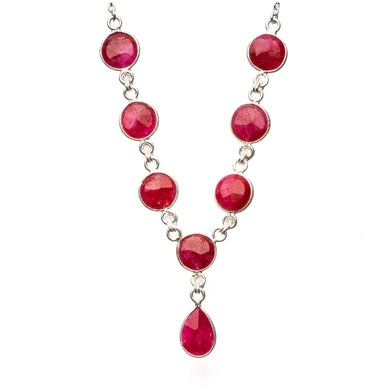 Natural Cherry Ruby 925 Sterling Silver Y-Shaped Necklace 18
