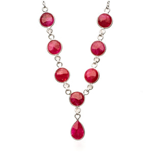 "Natural Cherry Ruby 925 Sterling Silver Y-Shaped Necklace 18"" R2625"