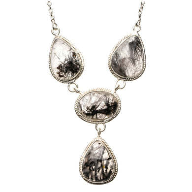 Natural Tourmalinated Quartz 925 Sterling Silver Y-Shaped Necklace 19 1/4