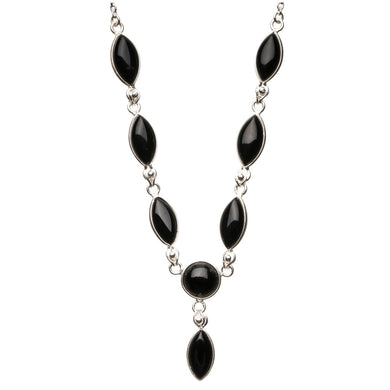 Natural Black Onyx 925 Sterling Silver Y-Shaped Necklace 19 1/2