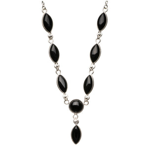 "Natural Black Onyx 925 Sterling Silver Y-Shaped Necklace 19 1/2"" R2628"