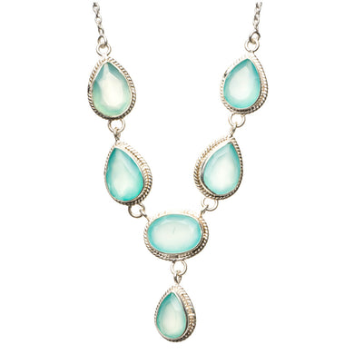 Natural Chalcedony 925 Sterling Silver Y-Shaped Necklace 20 3/4