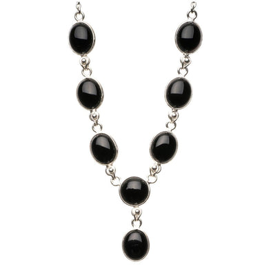 Natural Black Onyx 925 Sterling Silver Y-Shaped Necklace 18 3/4