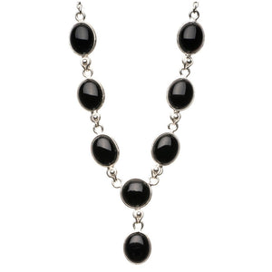 "Natural Black Onyx 925 Sterling Silver Y-Shaped Necklace 18 3/4"" R2634"