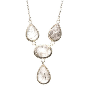 "Natural Tourmalinated Quartz 925 Sterling Silver Y-Shaped Necklace 19"" R2635"