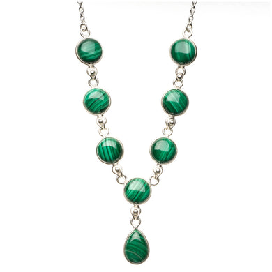 Natural Malachite 925 Sterling Silver Y-Shaped Necklace 18 1/4